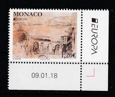 """Monaco 2018 : LUXE !!! - N° 3138  - Europa """" Les Ponts"""" - Neuf** - En Coin Daté - - Ungebraucht"""