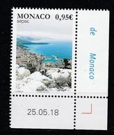 Monaco 2018 : LUXE !!! - N° 3142 - Les Vues Spectaculaires (Monaco Sous La Neige) - SEPAC - Neuf** - En Coin Daté - - Ungebraucht