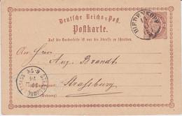 Thurn Und Taxis Nv K1 Biedenkopf Ganzsache DR P 1 N Straßburg 1874 - Thurn Und Taxis