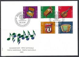 Yv 1225/29  F.D.C. Pro Patria 1985, Instruments De Musique Populaires Suisses - FDC