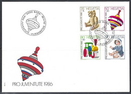 Yv F.D.C. 1260/63 Pro Juventute 1986 , Jouets - FDC