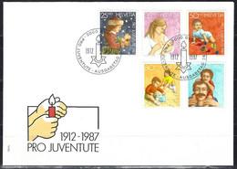 Yv F.D.C. 1288/92 Pro Juventute 1987, Timbre De Noël, Le Développement De L'enfant - FDC