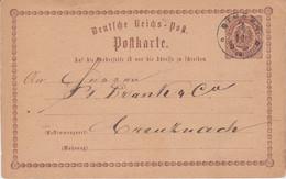 Thurn Und Taxis Nv K1 Bingen Ganzsache DR P 2 N Kreuznach 1873 - Thurn Und Taxis