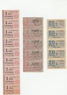 """9 BONS """"1 LITRE PÉTROLE """" 2e SEMESTRE 1949 ,5 DE 2 LITRES HUILE AUTO 4e TRIMESTRE 1946,5 DE 20 LITRES GAS-OIL MAI 1949 - Buoni & Necessità"""