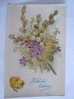 Frohliche Ostern Bloemen Kuiken Poussin Fleurs Glacée Doréé Ed Erkal 615/2 Circulée DDR Gelopen 1957 Coin Un Peu Abimé - Pasqua