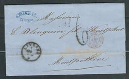 ITALIE 1860 Marque Postale Taxée De Livourne Pour Montpellier - 1. ...-1850 Prephilately