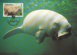 Vanuatu 1988 Maxicard Sc #470 5v Dugong WWF - Vanuatu (1980-...)