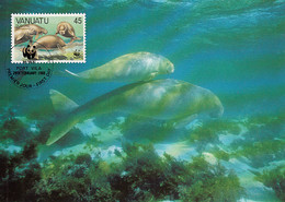 Vanuatu 1988 Maxicard Sc #473 45v Dugong WWF - Vanuatu (1980-...)