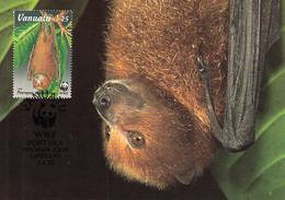Vanuatu 1996 Maxicard Sc #674 25v Vanuatu Flying Fox WWF - Vanuatu (1980-...)