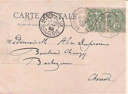 "Cachet Convoyeur ""Neussargues A Béziers 1902"" Blanc Frappe Superbe Cp Cornus - Posta Ferroviaria"