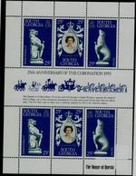 SOUTH GEORGIA 1979 25th ANNIVERSARY OF THE CORONATION 1953 MINI SHEET MI No 71-3 MNH VF!! - Géorgie Du Sud