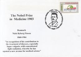 FAMOUS PEOPLE, NOBEL PRIZE LAUREATS, NIELS RYBERG FINSEN, MEDICINE, SPECIAL COVER, 2003, ROMANIA - Nobel Prize Laureates