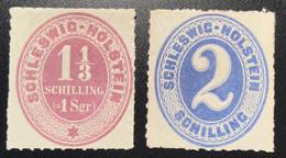 Schleswig-Holstein Mi 10-11 * Tadellos Geprüft Møller BPP: 1865 1 1/3 S + 2S VF Mint (TB Neuf Denmark Danemark Dänemark - Schleswig-Holstein