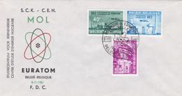 Enveloppe Cover Brief FDC 1195 à 1197 Mol Euratom - FDC