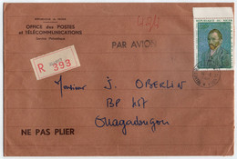 NIGER - NIAMEY - VAN GOGH / 1968 LETTRE RECOMMANDEE AVION POUR OUAGADOUGOU (ref GF180) - Niger (1960-...)
