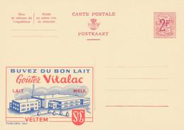 Carte Entier Postal Publibels 1860 Buvez Du Bon Lait Vitalac Veltem - Postwaardestukken