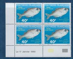 "Polynésie Coins Datés YT 352 "" Faune D'eau Douce "" Neuf** Du 17.01.1990 - Polinesia Francese"