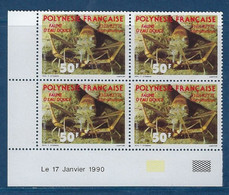 "Polynésie Coins Datés YT 353 "" Faune D'eau Douce "" Neuf** Du 17.01.1990 - Polinesia Francese"
