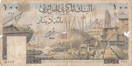 Grand Billet 100 DINARS ALGERIE Du 1er Janvier 1964 - Bateaux Scène De Port Et Complexe De Building Modernes - Algerien