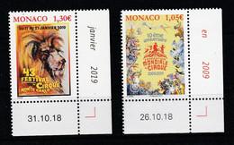 Monaco 2019 : LUXE !!! - N° 3164 & 3165  - Festival International Du Cirque De Monte-Carlo - Neuf** - En Coin Daté - - Ungebraucht