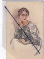 Thème Fantaisie : Femme . Beau Dessin Couleur ,signé Avot ? - Women