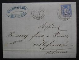 L'Isle Sur La Sorgue Vaucluse 1876, Créange & Fils Lettre Pour Villefranche - 1849-1876: Periodo Clásico