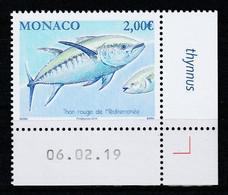 Monaco 2019 : LUXE !!! - LE THON ROUGE DE MÉDITERRANÉE - Neuf** - En Coin Daté - - Ungebraucht