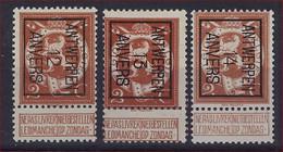 Nr. 109 (3 X) Typo Nrs. 32 , 40 En 49 Allen Type B ANTWERPEN 12 , 13 En 14 ANVERS ; Staat Zie Scan ! - Typos 1912-14 (Lion)