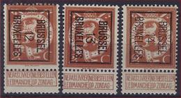 Nr. 109 (3 X) Typo Nrs. 33 , 41 En 50 Allen Type B BRUSSEL 12 , 13 En 14 BRUXELLES ; Staat Zie Scan ! - Typos 1912-14 (Lion)