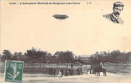 Ballon Dirigeable Mixte Aéroplane MALECOT Se Dirigeant Vers PARIS Sans Doute Depuis Le Bourget - Dirigibili