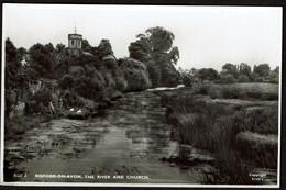 RPPC - Bidford-on-Avon - The River And Church - 2 Scans - Inglaterra