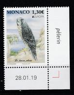 Monaco 2019 : LUXE !!! - Europa CEPT Le Faucon Pèlerin - Neuf** - En Coin Daté - - Ungebraucht