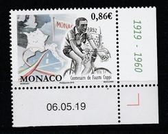 Monaco 2019 : LUXE !!! - CENTENAIRE DE LA NAISSANCE DE FAUSTO COPPI - Neuf** - En Coin Daté - - Ungebraucht