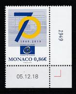 Monaco 2019 : LUXE !!! - 70e ANNIVERSAIRE DU CONSEIL DE L'EUROPE - Neuf** - En Coin Daté - - Ungebraucht