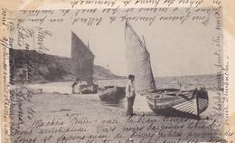14.VILLERS SUR MER. CPA. BARQUES DE PECHEURS. ANNEE 1903 + TEXTE - Villers Sur Mer