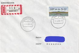 D 300) BRD 1993 ATM 2 (450 Pf) EF Einschreiben 50668 Köln 1, K2 Briefzentrum 51 - Storia Postale