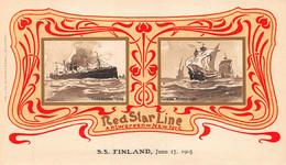 RED STAR LINE-ANTWERPEN-NEW YORK-STEAMER SHIP FINLAND-1905 POSTCARD 49228 - Piroscafi