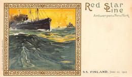 RED STAR LINE-ANTWERPEN-NEW YORK-STEAMER SHIP FINLAND-1905 POSTCARD 49229 - Piroscafi