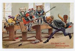 """Arthur Thiele. Animaux Habillés. """" La Souris """"  Cours De Musique, Violon. T.S.N. Série 1428 - Cats"""