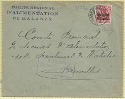 OC3 (10c Sur 10 Pf Rouge) Sur Courrier De Halanzy Vers Bruxelles (1916)  +  Censure Militaire Arlon - [OC1/25] Gouv. Gén.
