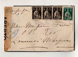 Cx15 15) Portugal Ceres 1 Ctv 1/2 Ctv 1919 CENSURA > Esposa Governador De Moçambique Lourenço Marques - 1910 - ... Repubblica