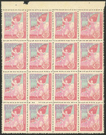 NORTHEAST CHINA: Sc.1L117, 1949 $6500 Workers With Flags, Block Of 16 With Sheet Margin, MNH, Excellent Quality! - China