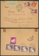 ROMANIA: 23/JUN/1947 Cluj - Argentina, Registered Airmail Cover With Nice Postage On Front And Back, Back Flap Missing E - 1918-1948 Ferdinand, Charles II & Michael