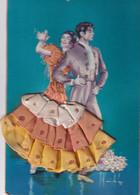 Carte Brodée Illustrateur Signé ESPAGNE Flamenco  Recto Verso - Embroidered
