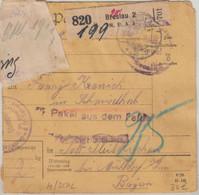 DR - Militärpaket Aus Dem Felde Breslau MPK4 - Pleiskirchen 1917 Zensuraufkleber - Storia Postale