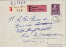 Schweiz - 1,20 Fr. Hist. Darstellungen Express Einschreibebrief Lausanne 1958 N. - Schweiz