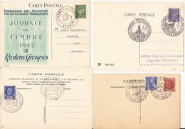 LOT DE 4 CARTES POSTALES EXPOSITIONS ET JOURNEE DU TIMBRE 1942 - 1940-49