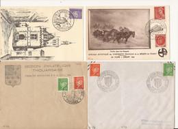 LOT DE 2 CARTES POSTALES ET 2 ENVELOPPES EXPOSITIONS ET JOURNEE DU TIMBRE 1943 1944 - 1940-49
