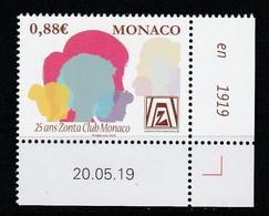 Monaco 2019 : LUXE !!! - N° 3193 - 25 Ans Du Zonta Club - Neuf** - En Coin Daté - - Ungebraucht