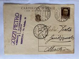 Cartolina Postale Con Risposta Pagata Da 30 Centesimi Privata, Viaggiata Da Mantova Per Guidizzolo 1934. - Postwaardestukken